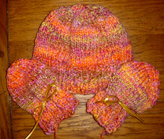 knitted Mitten and Hat set for baby