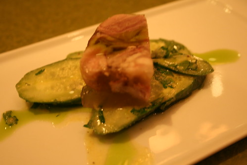pig trotter terrine on cucumber with fennel drizzle