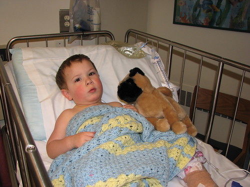 Hanging out with his new friend after surgery