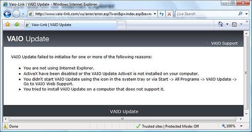 vaio update error