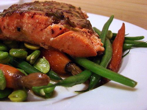 salmon and spring veg