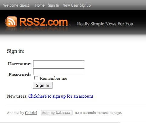 Rember me signing now works on RSS2.com