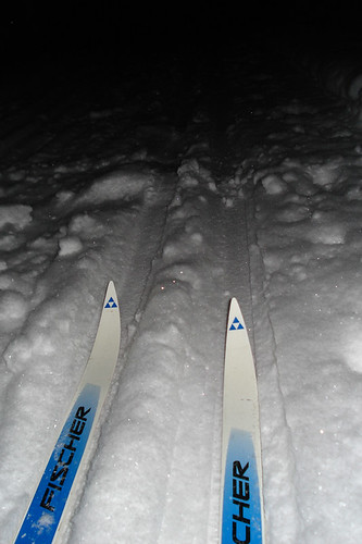 skiing in the dark