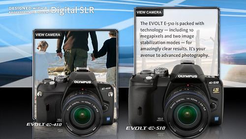 Olympus E-system E-510 and E-410 sister cameras