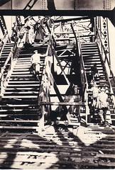 German soldiers crossing the bridge, Daugava river