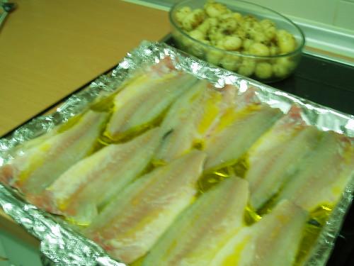 Las lubinas antes de meter al horno (plato principal)