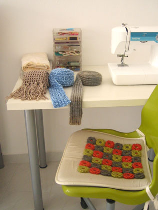 three scarves and a sewing machine