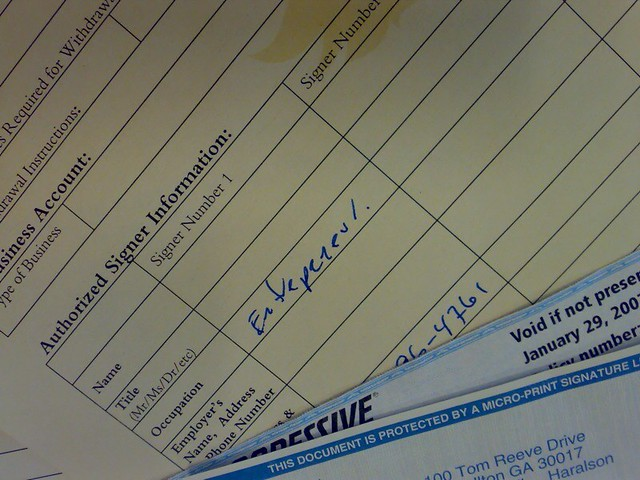 bank account application (his word, not mine)