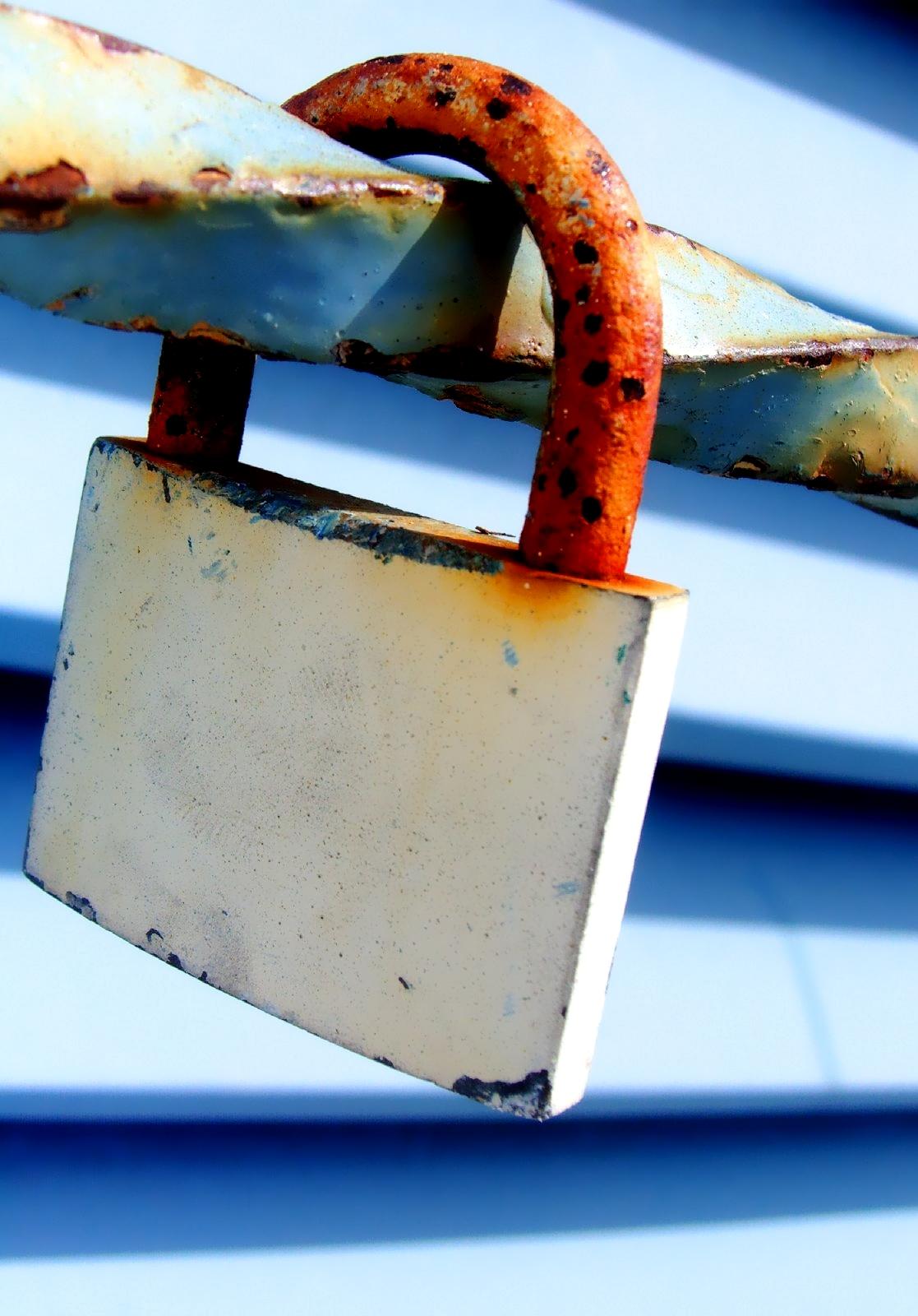 a rusted padlock