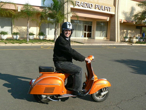 Me on the 'Orange bomber', my 1968 Orange VLB Vespa Sprint by digitaldion