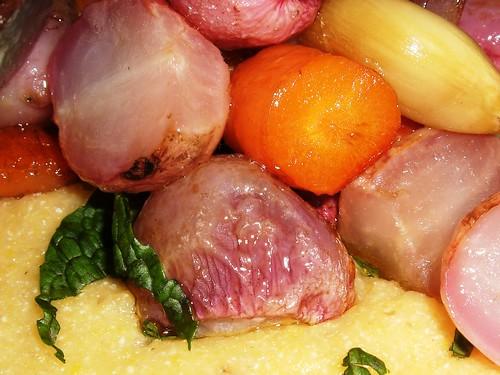 Radishes, Carrots, Polenta, Mint