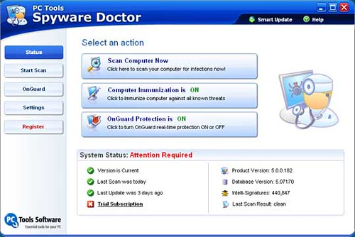 Spyware Doctor - select an action