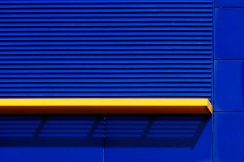 yellow line on blue wall by ChromaticOrb