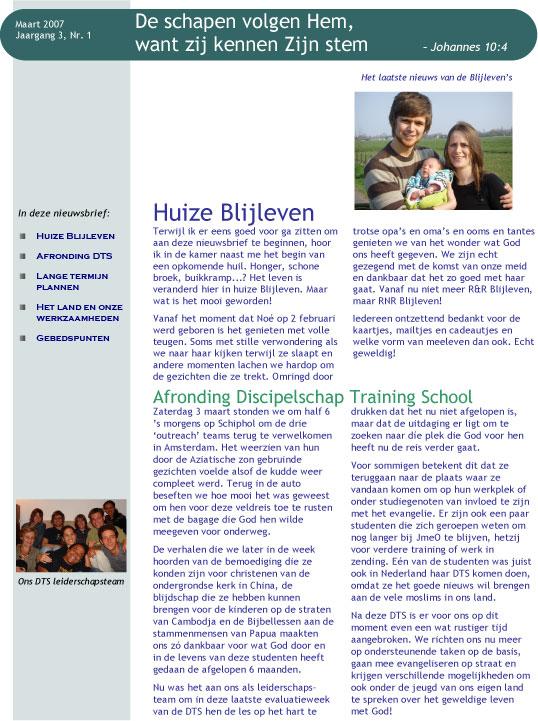Nieuwsbrief Maart 2007