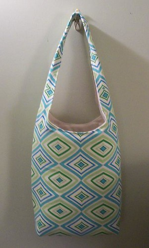 blue and green diamonds bag