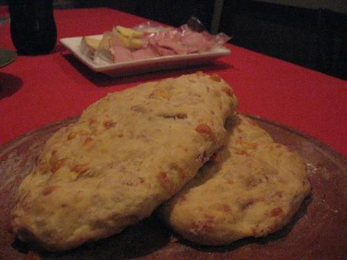 gruyere cheese-serrano ham focaccia