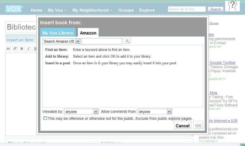 Scelta del libro da inserire