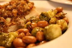 Cranberry Beans with Bacon and Brussels Sprouts