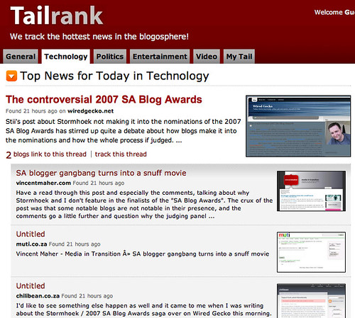2007 Blog Awards on Tailrank 2