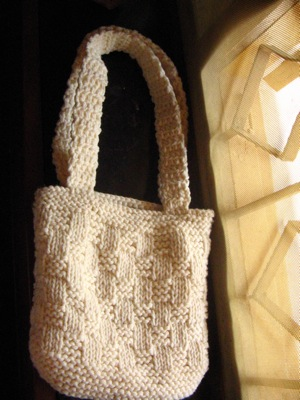 Basketweave knit bag