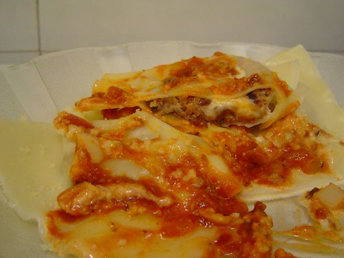 won-ton ravioli with mushroom-cheese filling