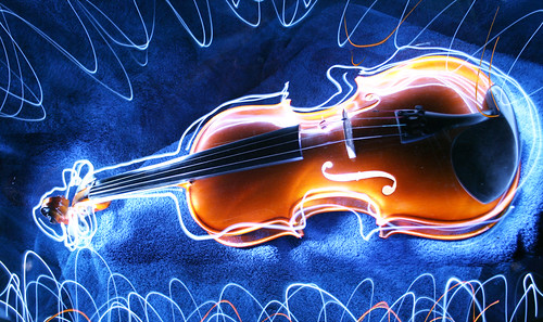 violin light painting