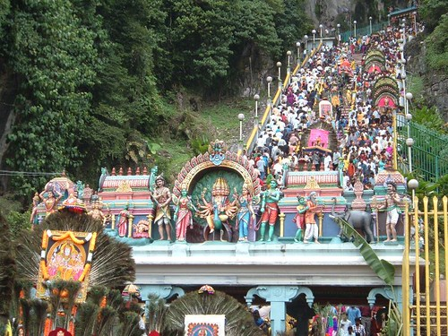 Devotees climbing the steps