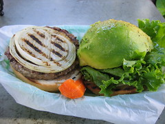 Avocado burger by KUA`AINA@Northshore in Hawaii.