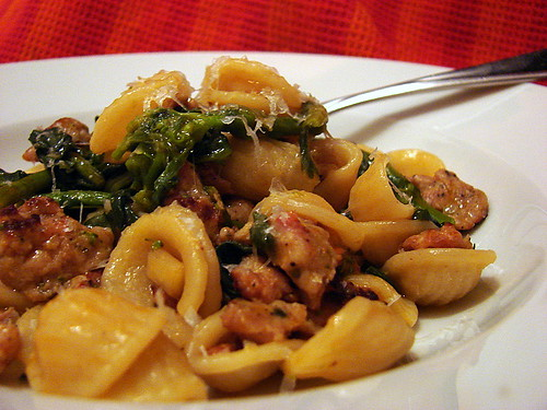 Orecchiette with sausage, rabe and green garlic