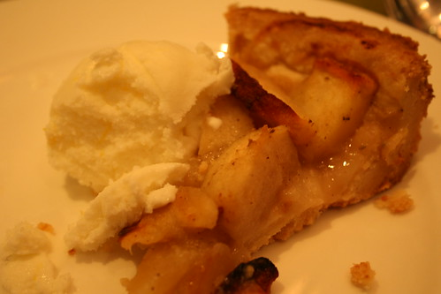 apple tart with crust made out of porkfat, and meyer lemon buttermilk ice cream