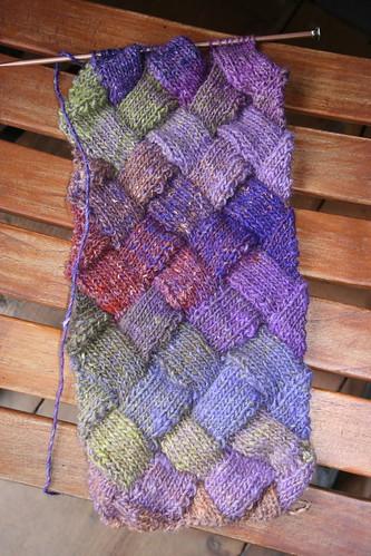 entrelac scarf in noro silk garden
