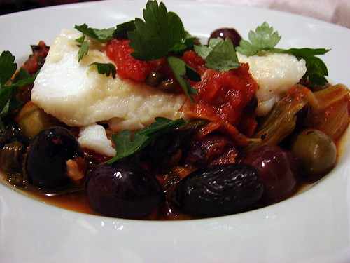 caponata style escarole and cod