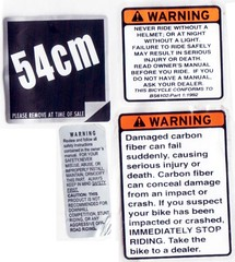 trek bike warning stickers