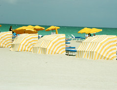 yellow cabanas, miami beach