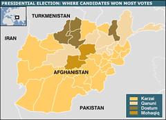 931103-阿富汗總統選舉地圖-Map of Presidential Map in Afghanistan, Nov. 3, 2004
