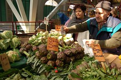 Judy buys her artichokes from Leo Piazzesi's stand in the Mercato Centrale, Florence.