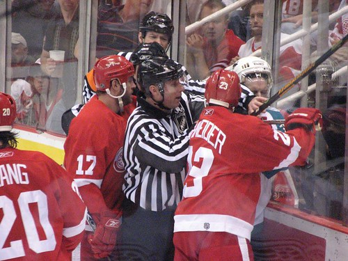 Getting scrappy during the Red Wings 3-2 win over the Sharks in game two of their second round series.