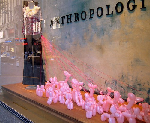 pink poodle window display @ anthropologie