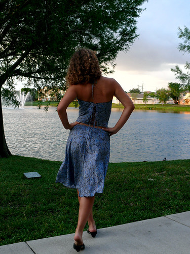 Silk top and skirt back view