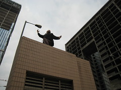 Exploring Macau - Damon on top of a small building