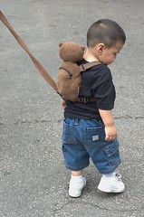 Leashed child