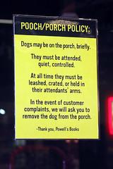 Porch/Pooch Policy at Powells