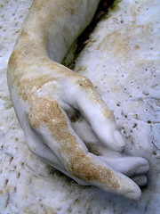 sculpture: a dead man's hand