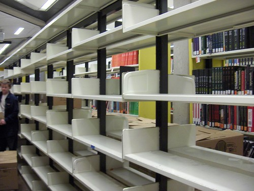 Empty shelves by Scott Library YorkU, on Flickr