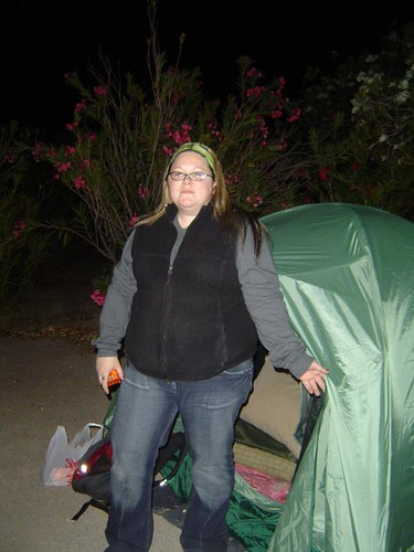 Andrea with my New Tent at our Campground