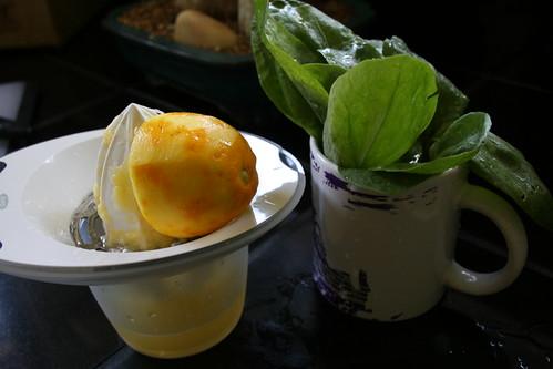 lemon sorrel soup prep