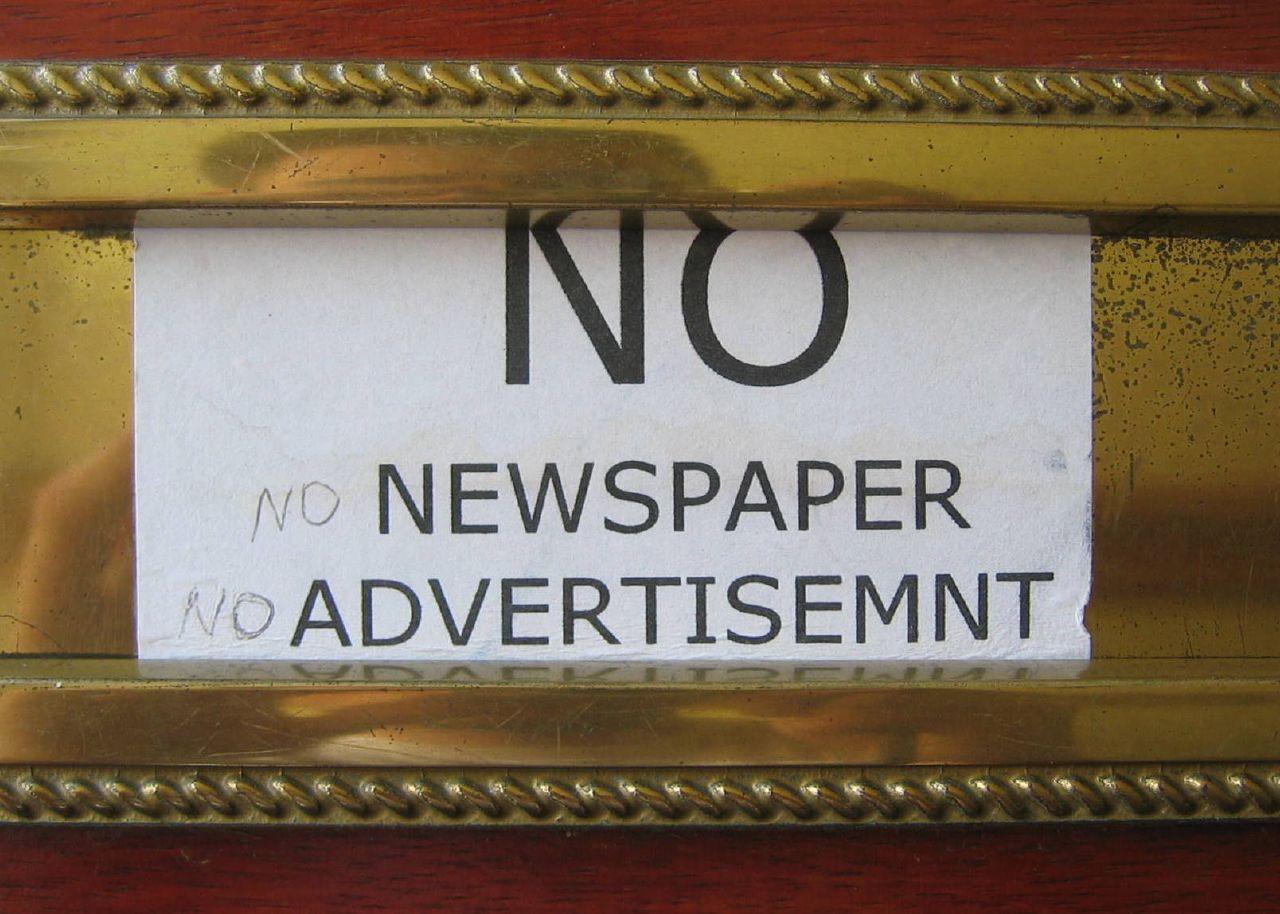 No to Junk Mail, NO Newspaper, No Advertisement