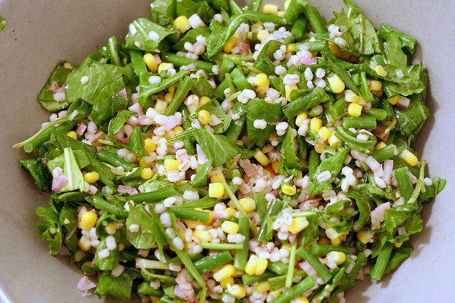 arugula, green bean, corn and barley salad