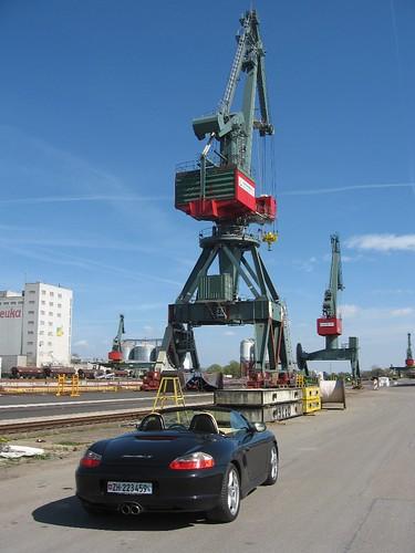 Regensburg Osthafen Westhafen Hafenbecken Bayernhafen Container Kräne Kran Donau Donauhafen