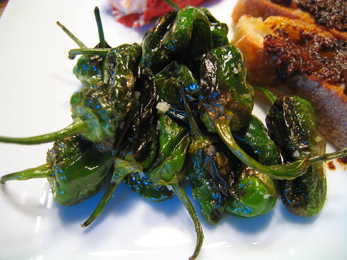 fried padron peppers with fleur de sel